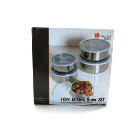 Imperial Stainless Steel 5 Mixing Bowls Set with Lids 10Pcs