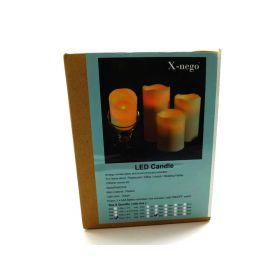"Flameless Candles 2P Ivory 3""x 8"" Battery Operated Plastic Pillar Candles"