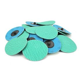 "Pack of 25 green 3 ""zirconias with Grind-type quick change sanding discs."