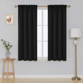 "Deconovo Rod Pocket Balances Color sólido Blackout Shades 52x63 ""Black 1 Panel"