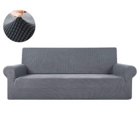 Jacquard Stretch Sofa Cover Spandex Fabric Fitted Couch Slipcover Protector Gray