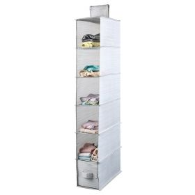 Mee'life Collapsible 6-shelf Hanging Closet Organizer with 1Drawer (Light Gray)
