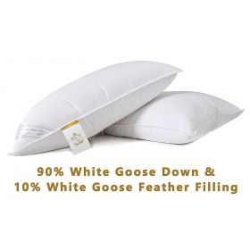 2 pack 90% White Goose Down Pillow 750 Fill Extra Soft Egyptian Cotton