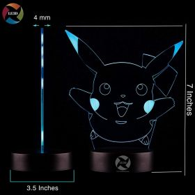 LE3D 3D Optical Illusion Night Light - 7 LED Color Changing Lamp - Pikachu