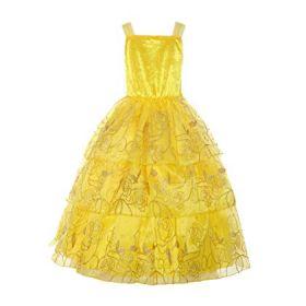 ReliBeauty Girls Sleeveless Sequin Princess Belle Costume Dress up