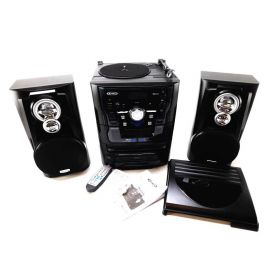 Jensen JMC1250 Bluetooth 3-Speed Stereo Turntable and 3 CD Changer (Black)