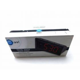 ONN AM/FM 1.8-inch Digital Clock Radio- ONA15AV101 (Black)