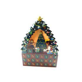 Santa Delivering Presents Under Christmas Tree Wood Advent Calendar 16 Inch New