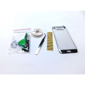 CrazyFire Galaxy S7 Edge Silver Replacement Front Outer Lens Glass Screen Repair Kit