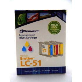 Dataproducts Inkjet Cartridges for Brother LC-51 Multi-Pack, Cyan/Magenta/Yellow