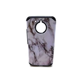 Ultra Thin Slim Hybrid Shockproof Drop Protection Impact Rugged Marble Case Armor Cover For Motorola Moto E4 Plus (White)