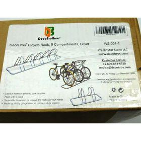 DecoBros 5 Bike Bicycle Floor Parking Adjustable Rack Storage Stand
