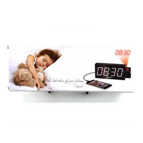 Mesqool Projection Alarm Clock for Bedroom - AM FM Radio & Sleep Timer, 180°