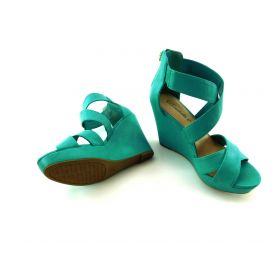 Women Leatherette Peep Toe Strappy Platform Wedge Sandal Aqua Leatherette (7.0)