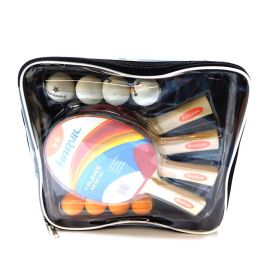 4-Player Table Tennis Racket and Ball Set with Nylon Carrying Bag
