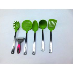 BravRain Kitchen Utensils 6 Piece Nonstick Non-Scratch Cooking Utensils (Green)