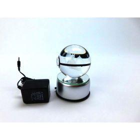 Pokeball Light made of K9 Crystal Laser Engraved, Led rotating base (Charizard)