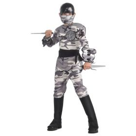 Arctic Camo Ninja Warrior Fighter Halloween Deluxe Child Costume LARGE 12-14 NEW