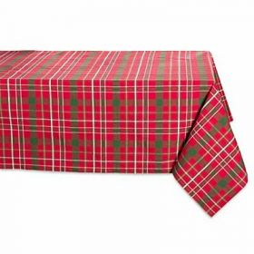DII Tartan Holly Plaid Square Tablecloth, 100% Cotton with 1/2