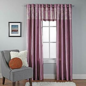 Miranda Faux Silk Grommet Valance with Metallic Print, 55 by 18-Inch, Lilac