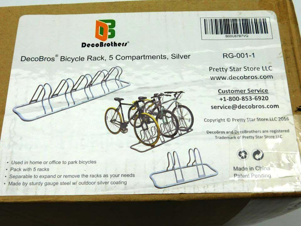 Silver Deco Brothers . DecoBros 5 Bike Bicycle Floor Parking Adjustable Rack Storage Stand