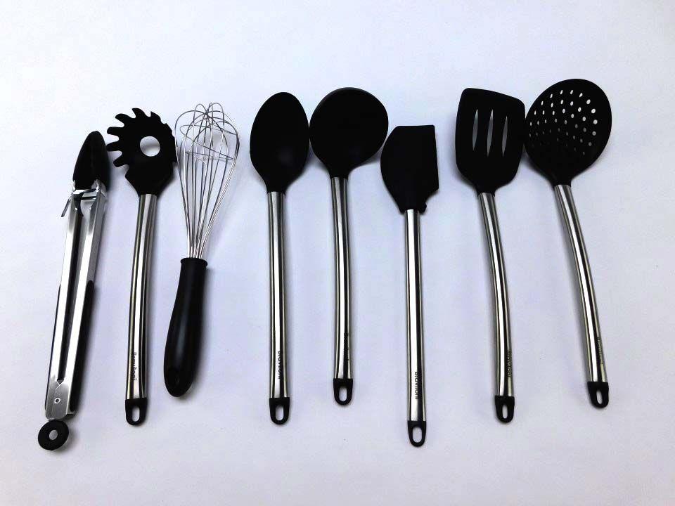 Kitchen Utensil Set - 8 Best Kitchen Utensils - Nonstick Cooking Spatulas -  Silicone & Stainless Steel Kit
