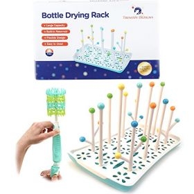Trendzy Dezigns - Antibacterial Bottle Drying Rack - Silicone Scrubber Brush