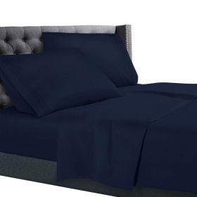 1800 COUNT QUALITY DEEP POCKET 4 PC BED SHEET SET,  Navy Blue