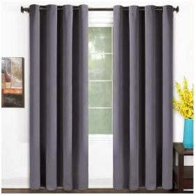 99% Blackout Curtains Thermal Insulated Solid Grommet 2 Panels Set