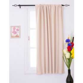 Luxury Homes Thermal Insulated Window Curtains 52Wx63L Single Panel (Beige)