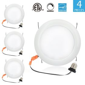 15W 7.5' Dimmable LED Recessed Lighting Ceiling Light E26 Base Soft White 4 Pack