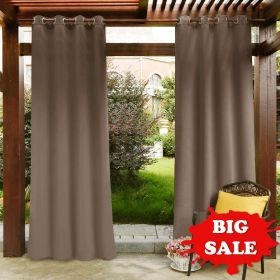 PONY DANCE Outdoor Curtain Panels - Thermal Insulated Blackout Ring Top Outdoor