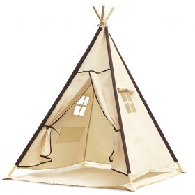 Indian Canvas Teepee Children Playhouse Kids Play Tent for Water Resistant Mat