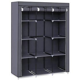 SONGMICS 51 Portable Closet Organizer Wardrobe Storage, 10 Shelves - Grey