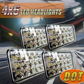 4 PCS 4X6 Rectagular Beam Headlight Assemblies Replace H4651 H4656 Hid Halogen