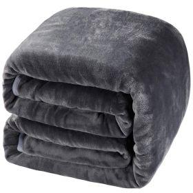 Balichun Luxury 330 GSM Fleece Blanket Super Soft Warm Fuzzy Bed - Gray