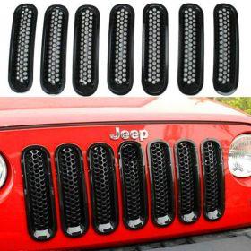 Topist 7pcs Black Front Grill Mesh Grille Insert Kit For Jeep Wrangler Rubicon Sahara Jk 2007-2015