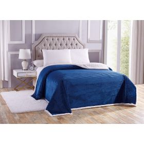 "Luxurious Queen Size Reversible Sherpa Corduroy Blanket (90 ""x 90"") Royal Blue"