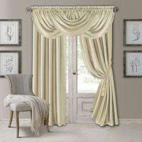 """Elrene Home Fashions Versailles Faux Silk Room Darkening 52"""" x 108"""" IVORY/CREAM"""