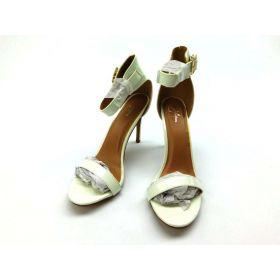 J. Adams Ankle Strap Kitten Heel White pu, size 10