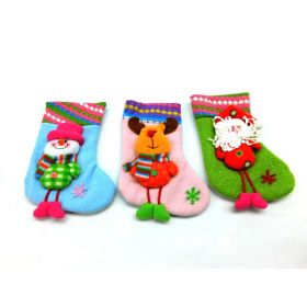 11 3 Pack Plush 3D Embroidered X-Mas Stockings, Adorable Designs. Hanging Loops