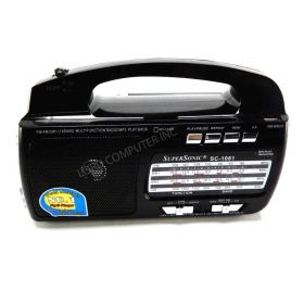 Supersonic AM FM Shortwave 1-2 Radio Torchlight USB SD Black