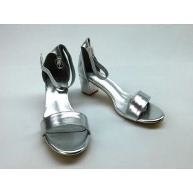 ESSEX GLAM Heel Ankle Strap Synthetic Strappy Shoes Size US 9 - Silver Metalic