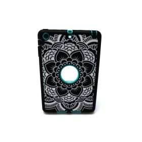 iPad Mini Case, Adela Shop 3in1 Shockproof Hybrid Case Hard Cover Pc+Silicone (Flower Aqua)