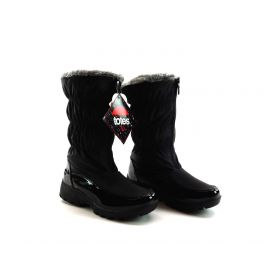 Collections Etc Women's Totes Zip Front Waterproof Boots with Plush Lining Black