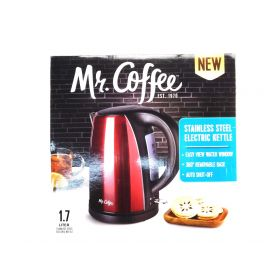 Mr. Coffee Stainless Steel Electric Kettle, Red