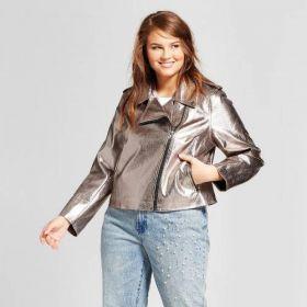 NWT Who What Wear Womens Metallic Moto Motor Jacket Coat Medium Pewter Silver