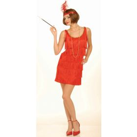 20's Red Fringe Flapper Adult Costume Medium/Large