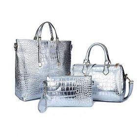 Women Stylish 3 Piece Bag SetBBDI Alligator Pattern Lash Package PU Leather