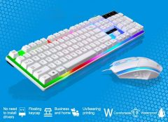 Rainbow Gaming Keyboard And Mouse Set Multi-Color Changing Backlight - WHITE